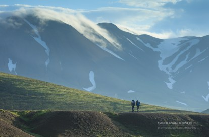 Two hikers on the Laugavegur hiking trail.