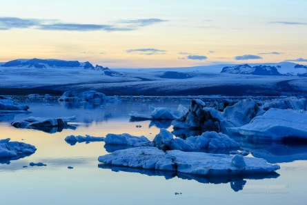 Blue hour after a summer sunset at Jokulsarlon lagoon.