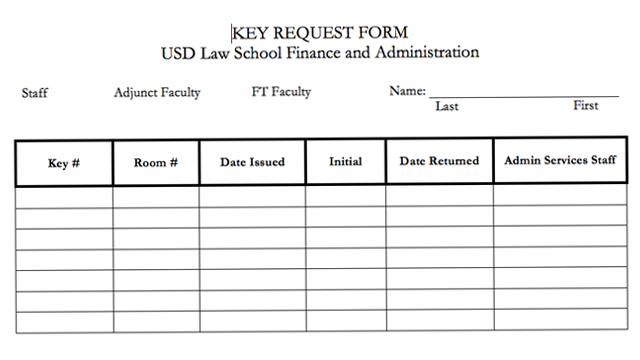 Key Request Process - School of Law - University of San Diego