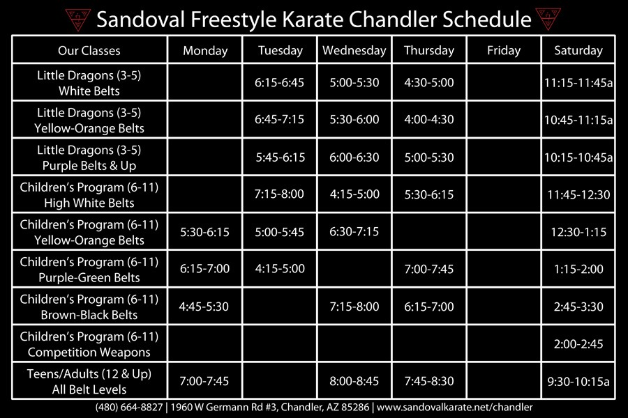 Sandoval Freestyle Karate Chandler Schedule (Class Times)