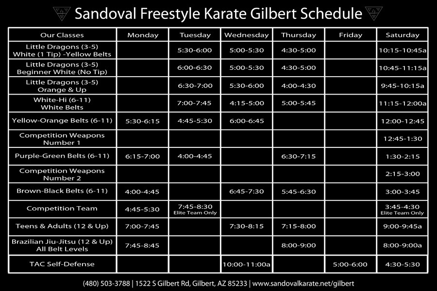 Sandoval Freestyle Karate Gilbert Schedule (Class Times)