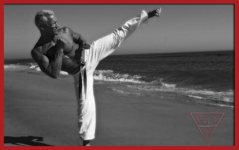 Man Doing Karate Side Kick