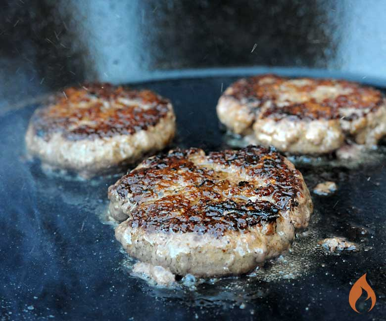 Girls Can Grill Cooking Up Burgers on a Cast Iron Skillet