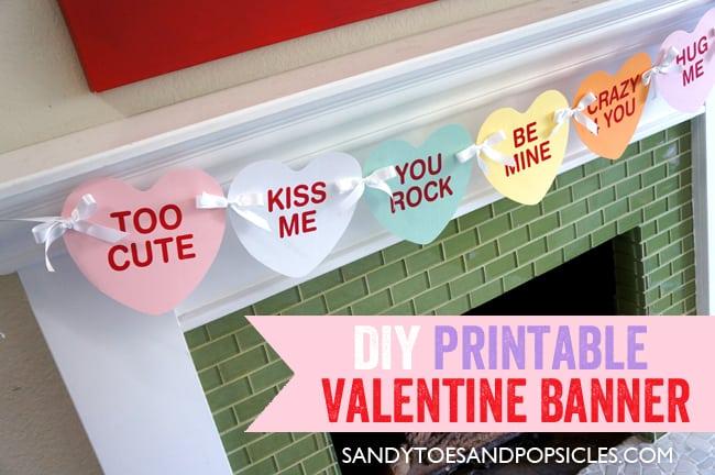 Easy DIY Valentine\u0027s Day Printable Banner Free Printables