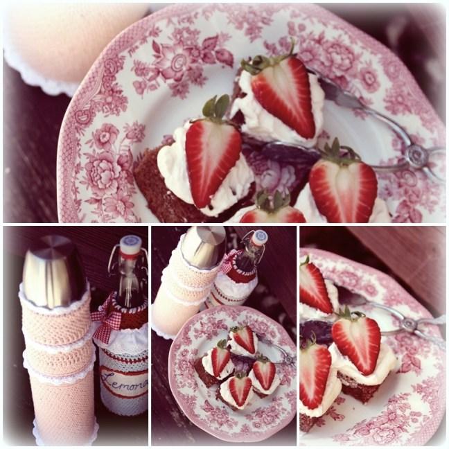 collage jordgubbsbakelser