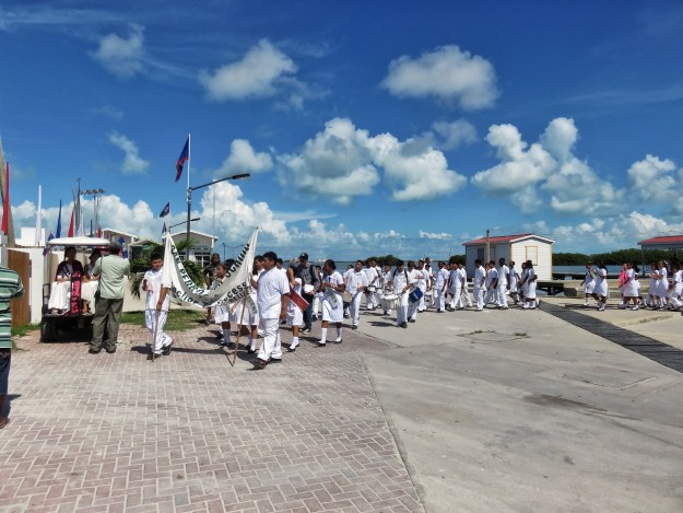 San Pedro High School kids parade in Belize