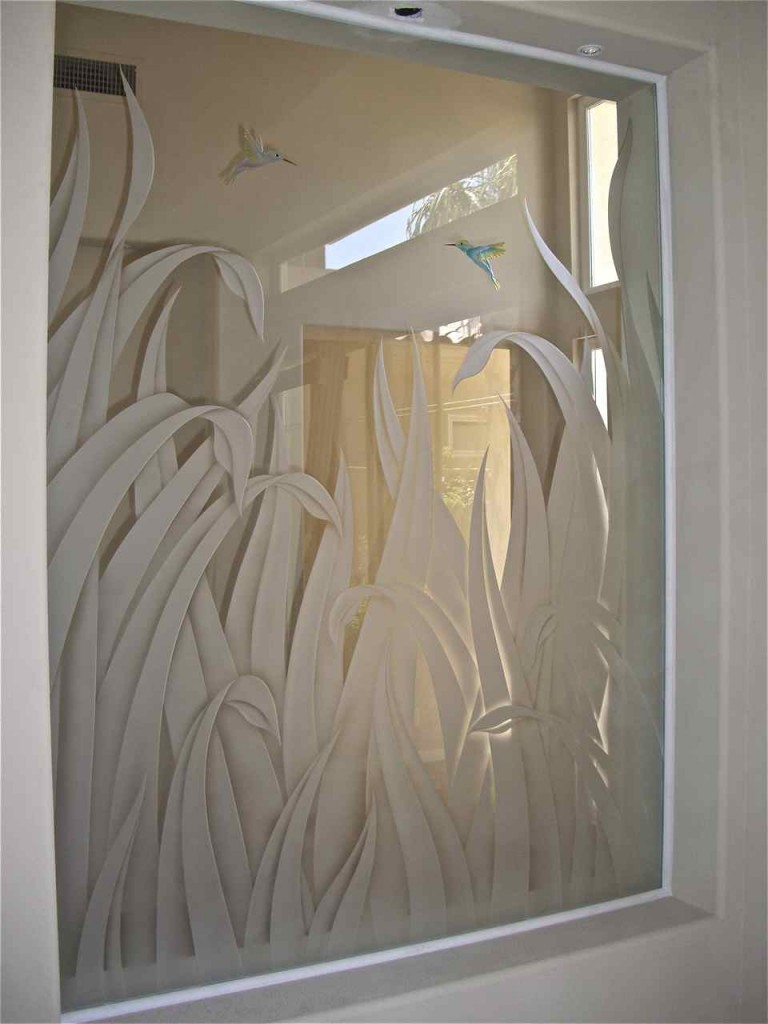 Etched glass interior window