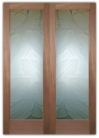 Frosted Glass Doors- Banana Leaves - Sans Soucie Art Glass