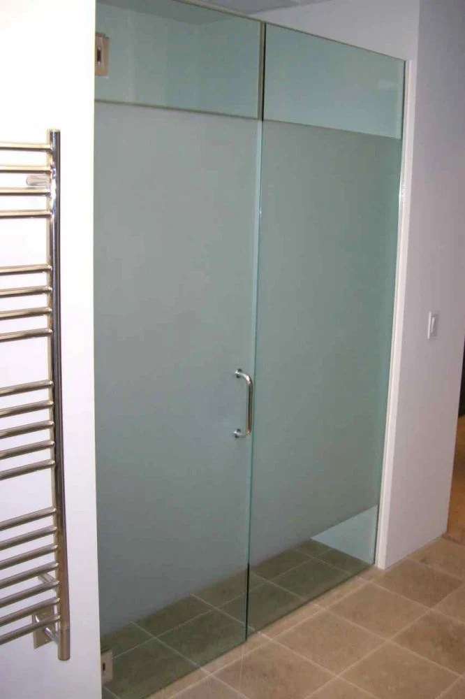 Solid Frst Glass Shower Doors Etched Glass Modern Design