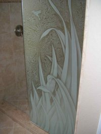 Reeds ll Glass Shower Panels Etched Glass Tropical Style