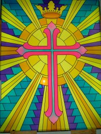 Beaming Cross With Crown Glass Window Stained Glass