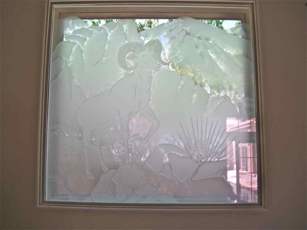 Bighorn Sheep Glass Window Etched Glass Western Decor