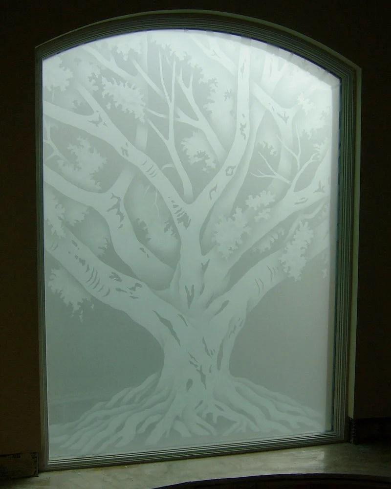 Oak Tree Glass Window Etched Glass Rustic Design