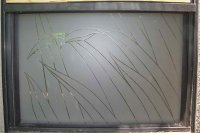 Pinstripe Rds Glass Window Etched Glass Tropical Design