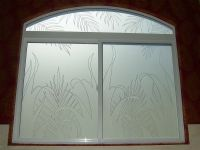 Reeds & Ferns Glass Window Etched Glass Tropical Design