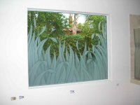 Rds & Hmbrds ll Glass Window Etched Glass Tropical Style