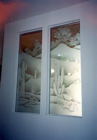 Saguaro Valley Glass Window Etched Glass Western Decor