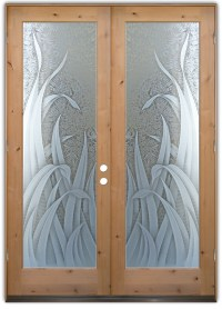 Reeds 3D Etched Glass Doors Tropical Design - Sans Soucie