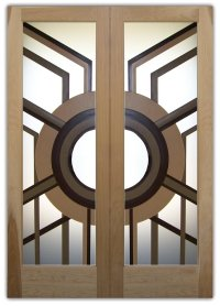 Sun Odyssey 3D Private Etched Glass Doors Modern Design