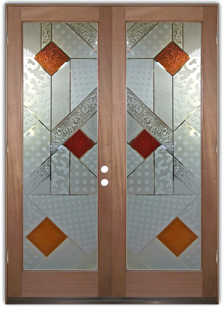 Matrix 3D III Etched Glass Doors Modern Design Style