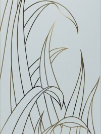 Reeds Front Doors with Glass Etching Tropical Design