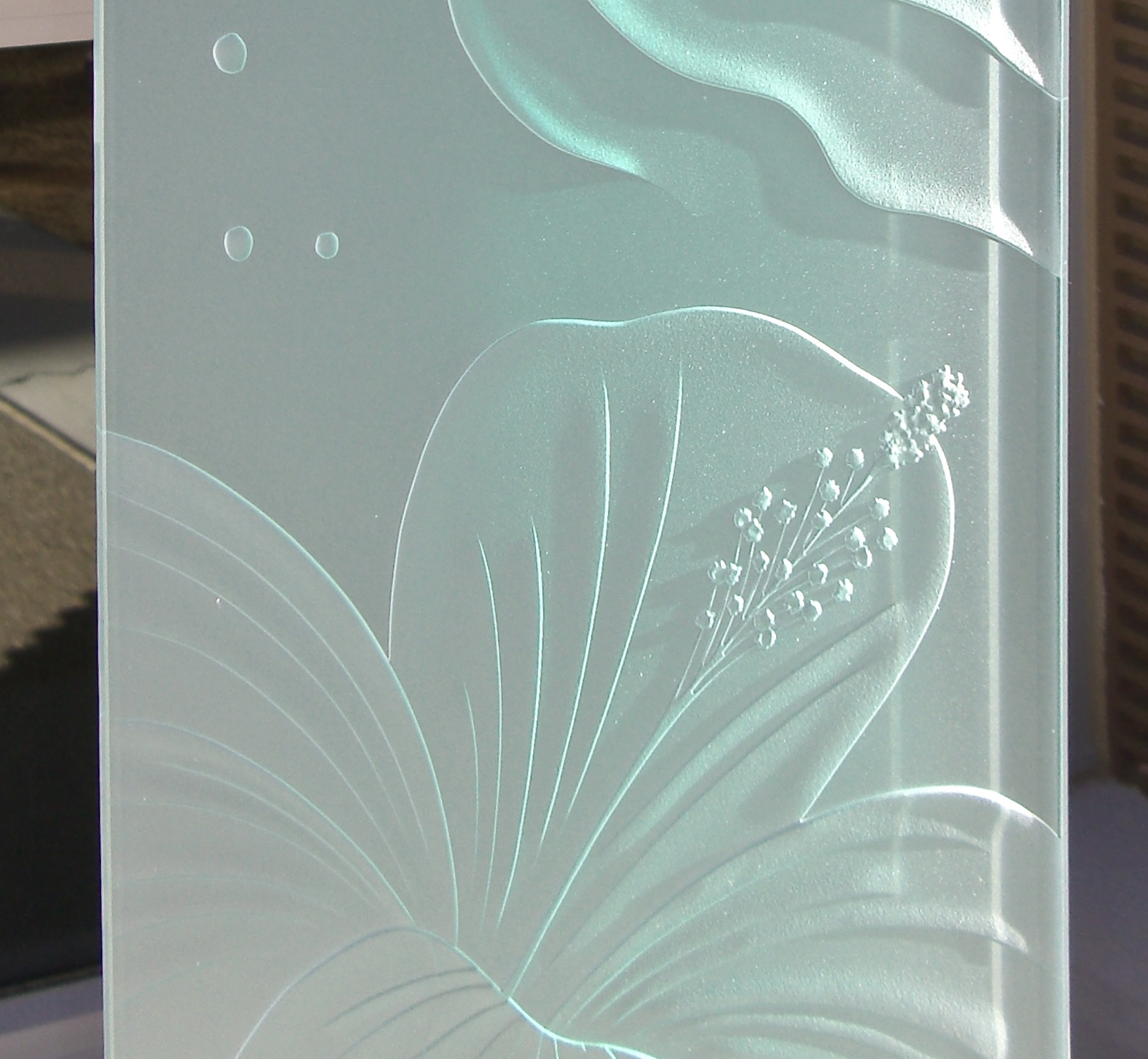 3d Shelves Wallpaper Hibiscus Waves 3d Etched Glass Window Panels