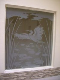 Egret & Reeds Glass Window Etched Glass Asian Design