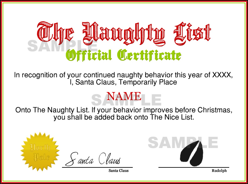 Instant Naughty List Certificate