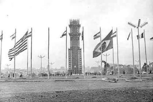 Obelisco do Ibirapuera em Construção em 1954