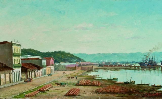 Benedicto-Calixto-Rampa-do-Porto-do-Bispo-em-Santos-no-ano-de-1900.