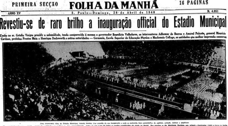 Folha da Manhã destaca a inauguração do Pacaembu.