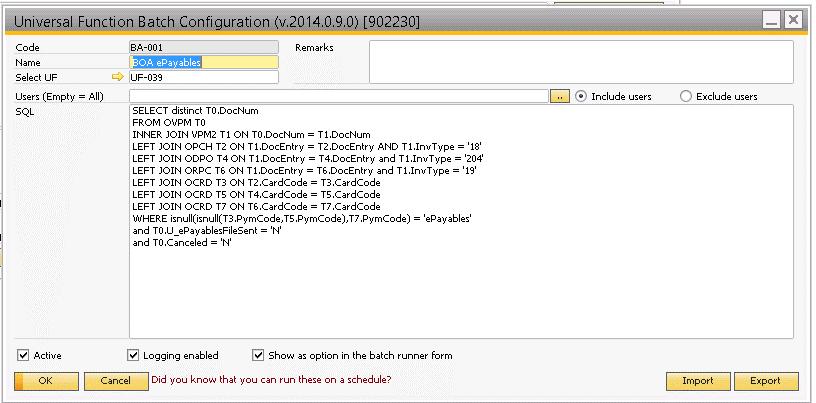 Universal Function Batch Configuration