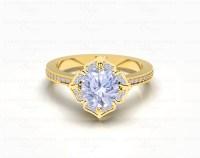 'Callist 041' 1.45ct Gold Flower Engagement Ring