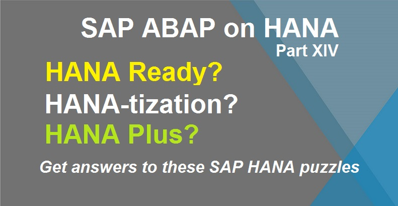 ABAP on SAP HANA Part XIV HANA Ready, HANA-tization  HANA Plus