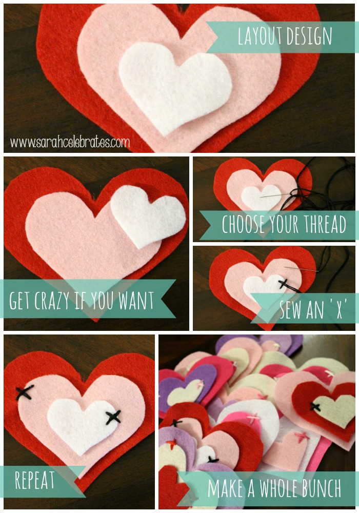Grapevine Wreath w/ Felt Hearts - sewing the hearts | Sarah Celebrates #gettingmycrafton
