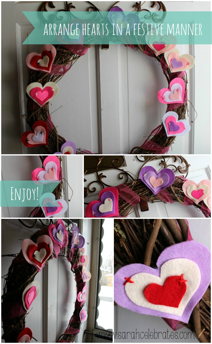 Grapevine Wreath w/ Felt Hearts - wreath arrangement | Sarah Celebrates #gettingmycrafton