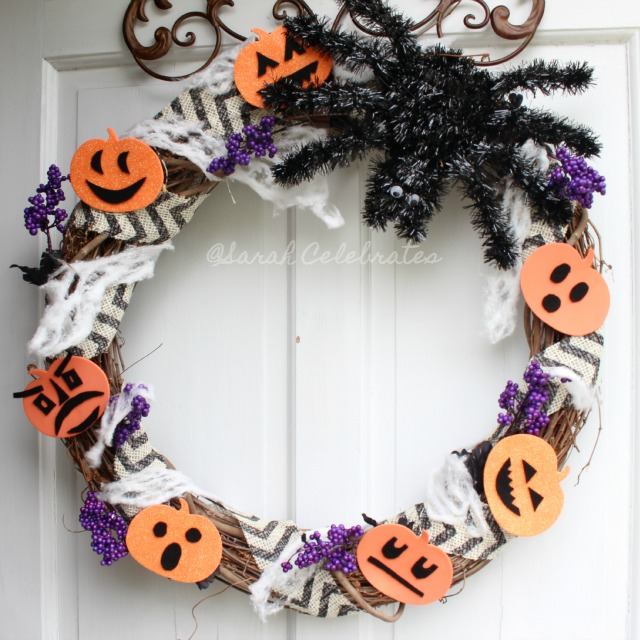 Scare Up a Halloween Wreath for $5! - Faces and webs