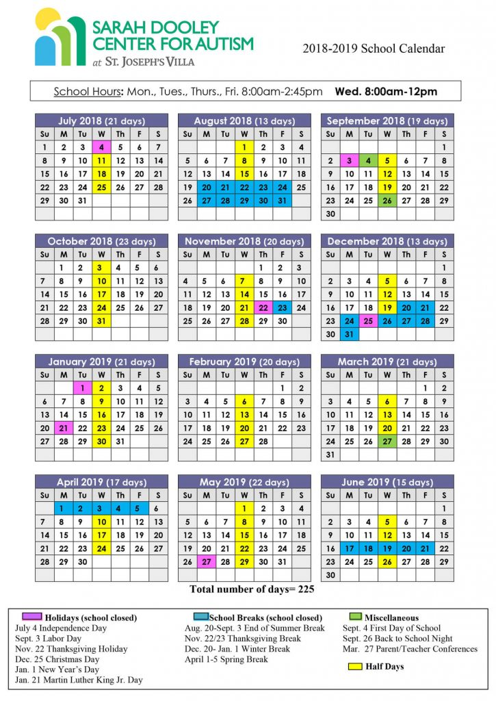School Calendar Sarah Dooley Center for Autism Richmond VA