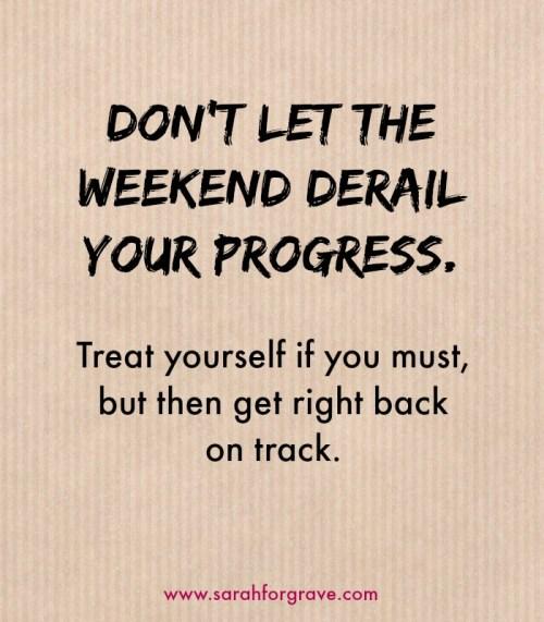 Don't let the weekend derail your progress | www.sarahforgrave.com
