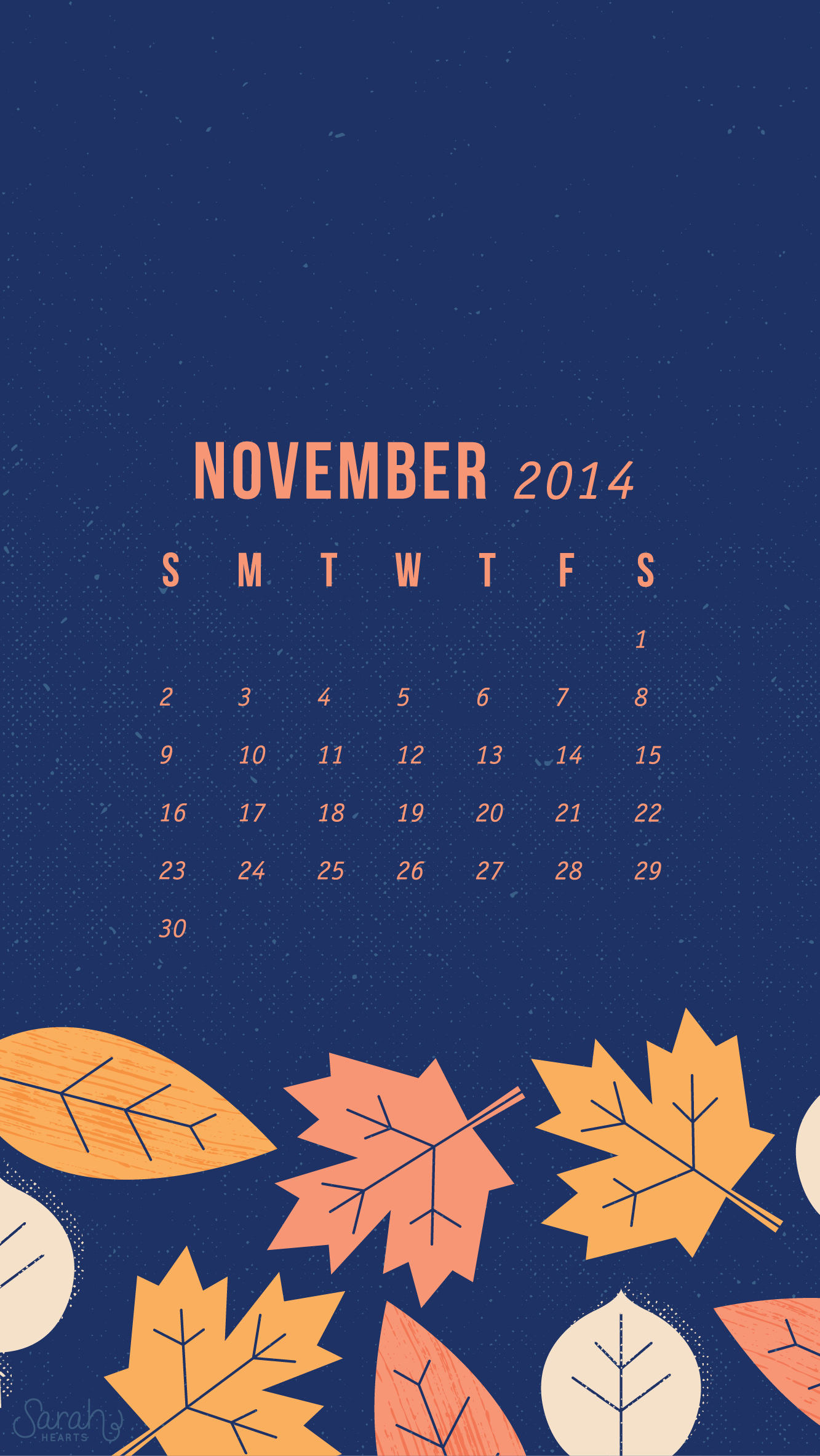 Free Computer Wallpaper Fall Leaves November 2014 Calendar Wallpapers Sarah Hearts