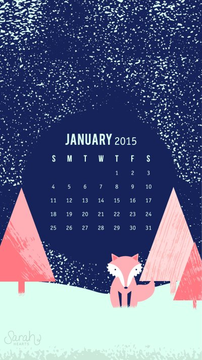 January 2015 Calendar Wallpaper - Sarah Hearts