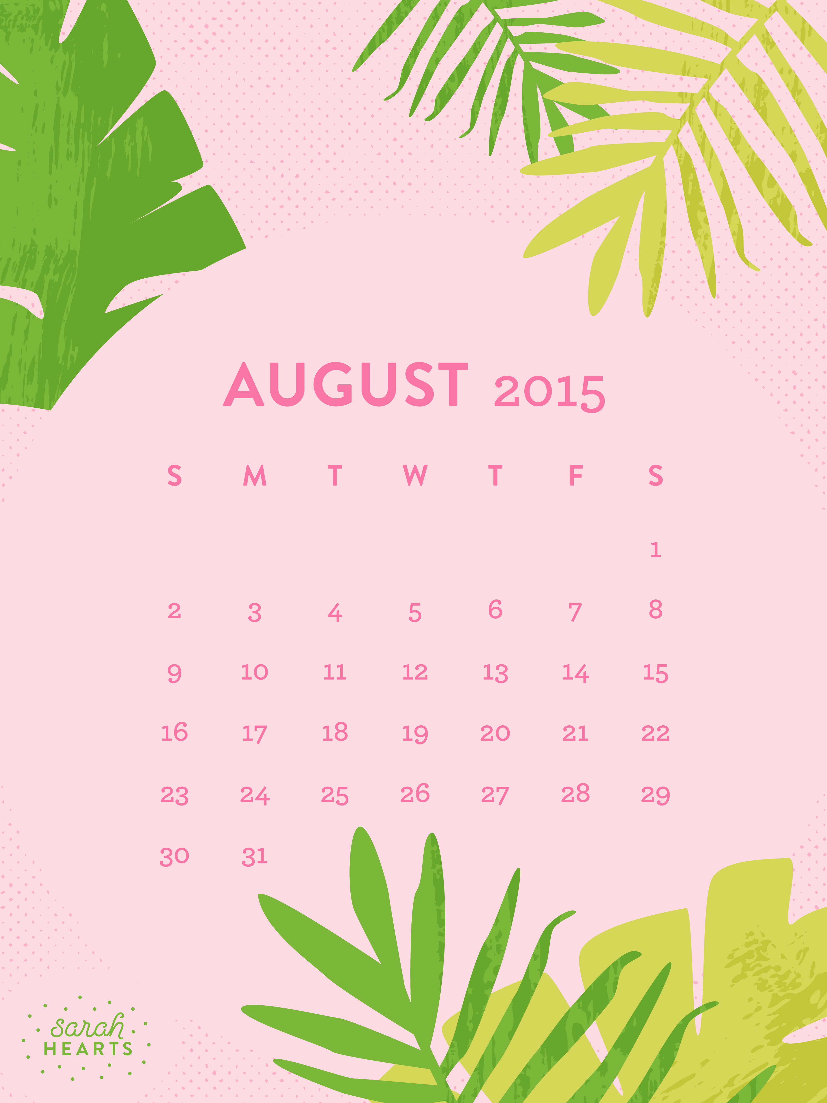 calendar for the month of july 2015