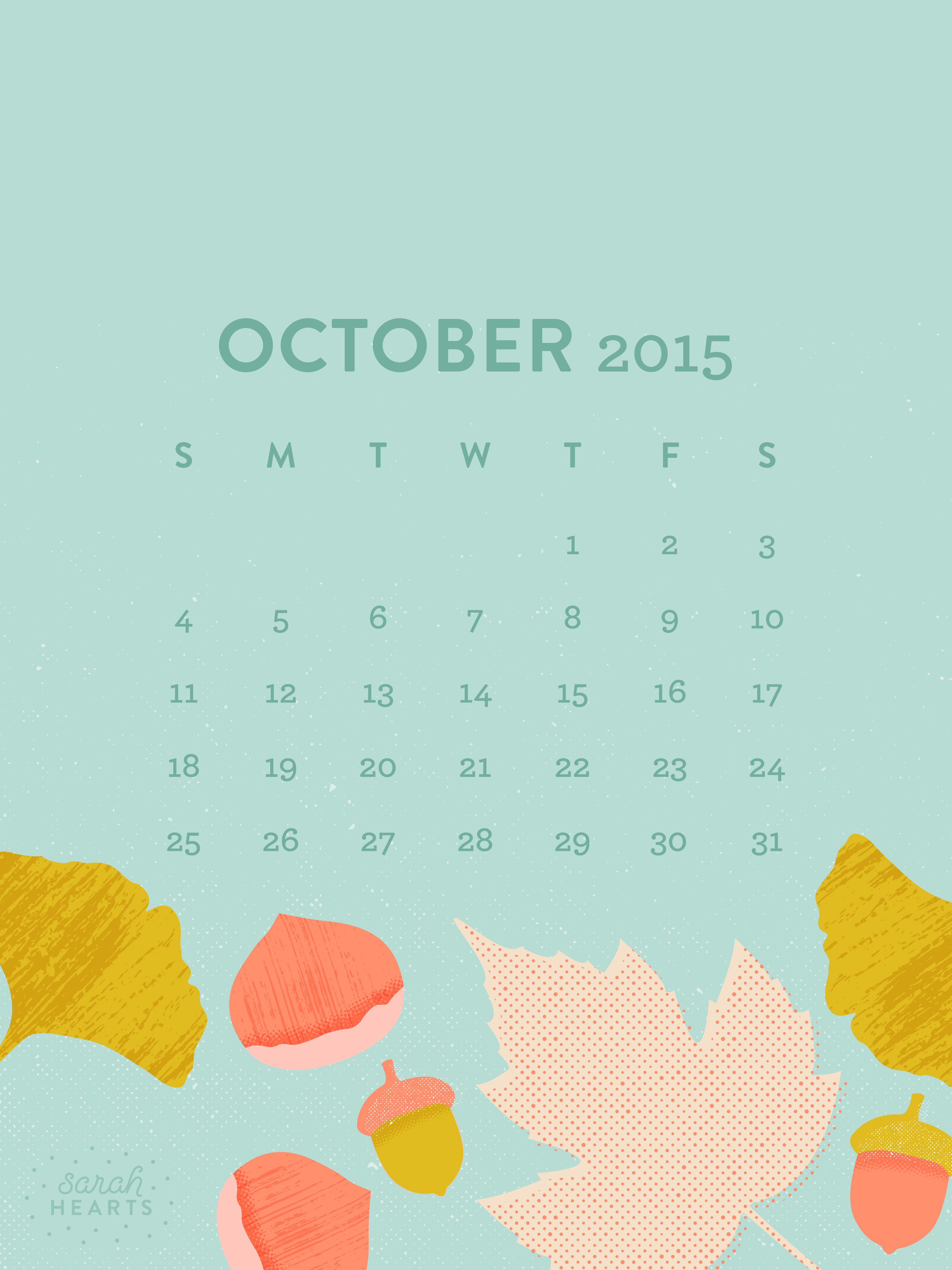 Fall Flowers Iphone Wallpaper October 2015 Calendar Wallpaper Sarah Hearts