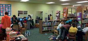 Patrons doing what libraries make possible--read, gather, think, hope, plan, dream, create!