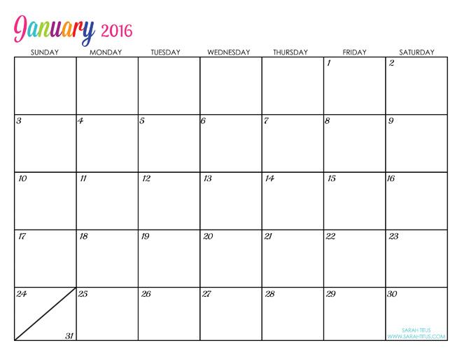2016 free printable calendars - Lolly Jane - free calendar printable
