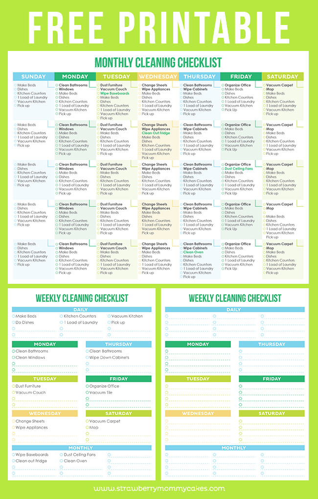 The Best Free Printable Cleaning Checklists - Sarah Titus