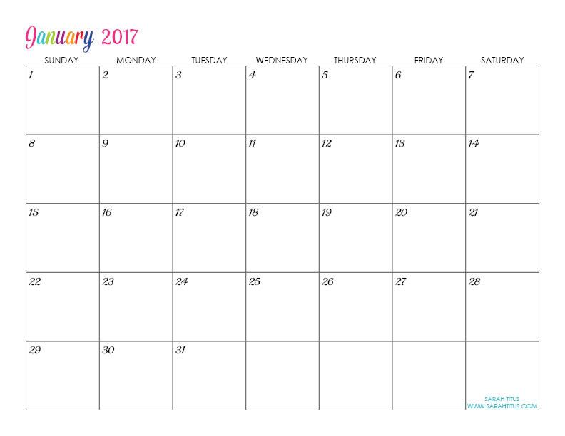 Custom Editable Free Printable 2017 Calendars - Sarah Titus - Printable Blank Calendar