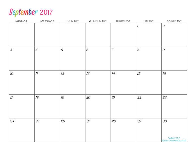 Custom Editable Free Printable 2017 Calendars - Sarah Titus - printable calendar