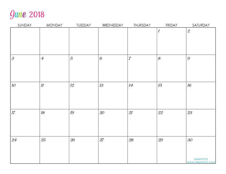 Custom Editable Free Printable 2018 Calendars - Sarah Titus