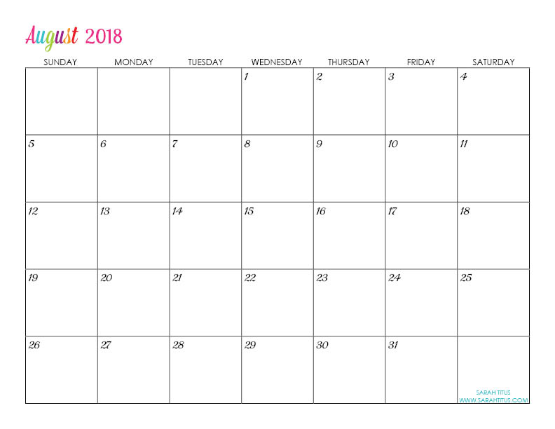 Custom Editable Free Printable 2018 Calendars - Sarah Titus - teachers planning calendar